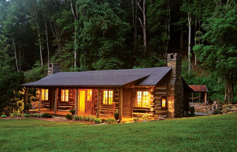 small cabin restoration log cabin chimney forest