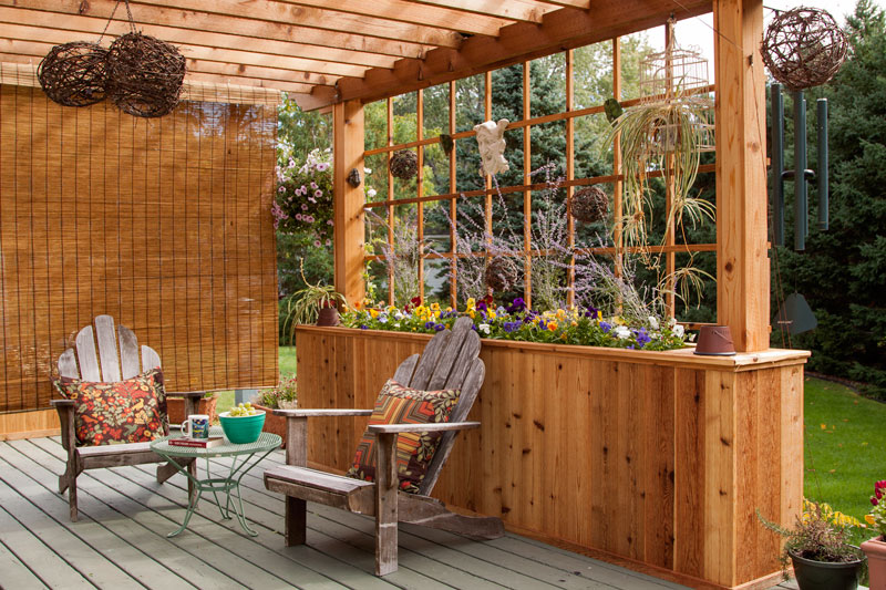 Finding a way to shield the sun while still enjoying the outdoors led to  this gorgeous addition to a cabin deck space. - Adding A Pergola To A Cabin Deck