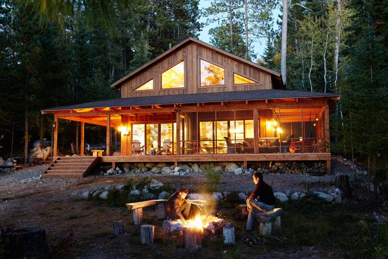 3 sides 2 living spaces 1 terrific deck - Log Cabin Design Ideas