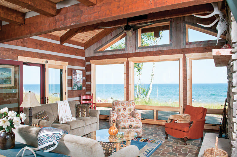 big deck windows great room cabin views