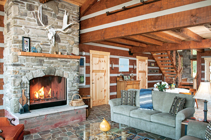 log cabin great room fireplace