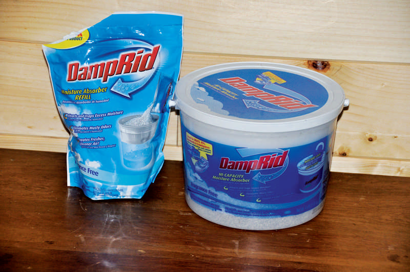 Use disposable moisture-eliminators for small spaces like under-sink cabinets, bathrooms, and boat lockers.