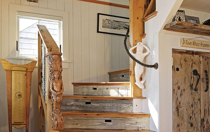 Why Not Add Whimsical Charm To Your Stairs? Nautical Details, A Stout Rope  Railing And Weathered Wood Make This Cape Cod Cottage Staircase Special.