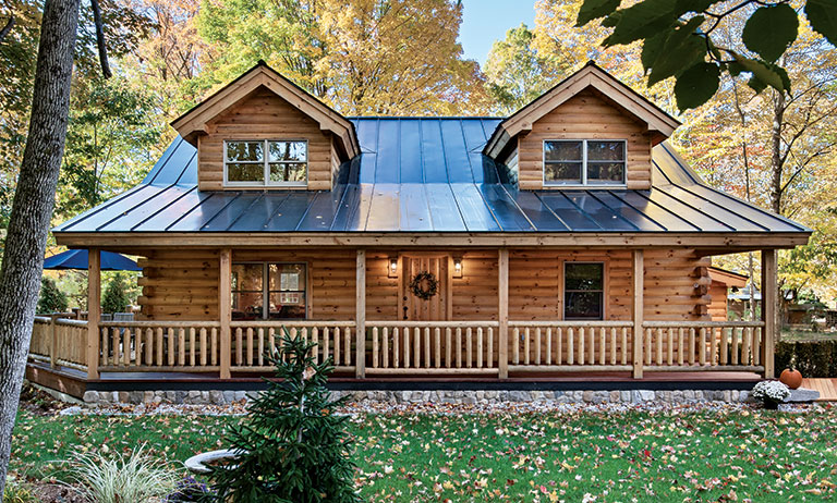 Tour this new hampshire log cabin getaway for New log homes