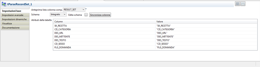 Parse RecordSet in Talend