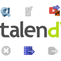 Small set of Talend custom components among standard ones and Talend logo in the middle