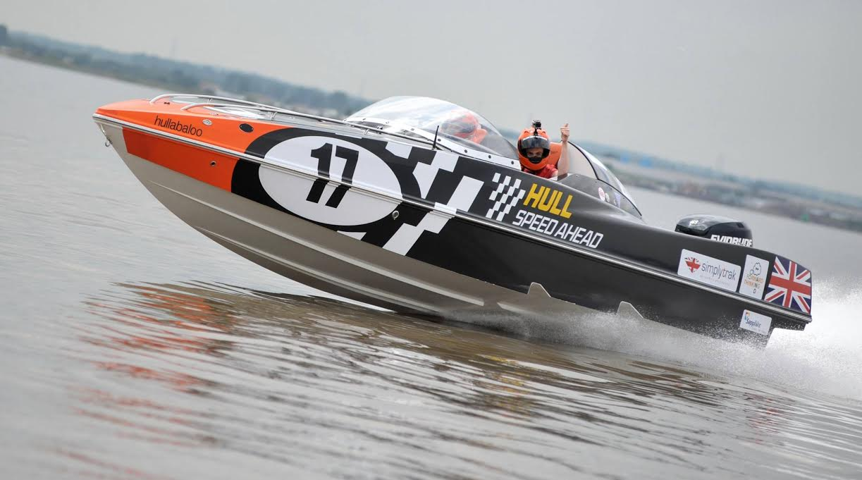 p1 Hull speed ahead power boat with simplytrak sponsor