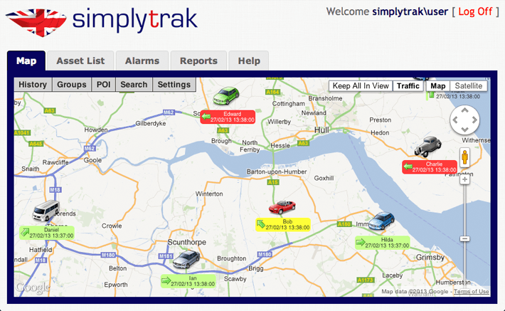 screenshot of the vehicle tracking system