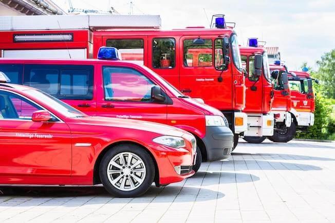 Fleet of red vehicles