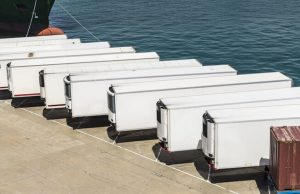 Line of white lorry trailers