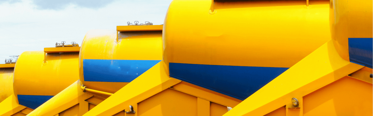 Row of yellow tankers