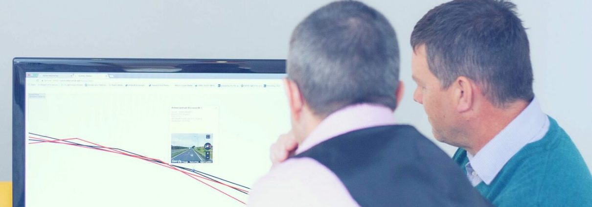 Ian and Andrew looking at the street view option on our Simplytrak tracking system