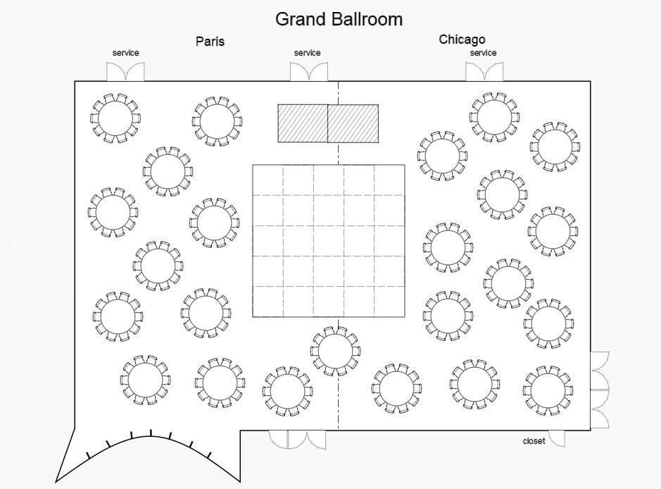 Sofitel chicago magnificent mile wedding ballroom layout for Wedding floor plan app