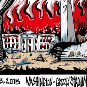 A Pearl Jam poster depicting a dead President Trump draws controversy in Montana Senate race