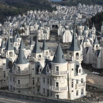 Abandoned mini-castle village seems like a macabre version of Disney World