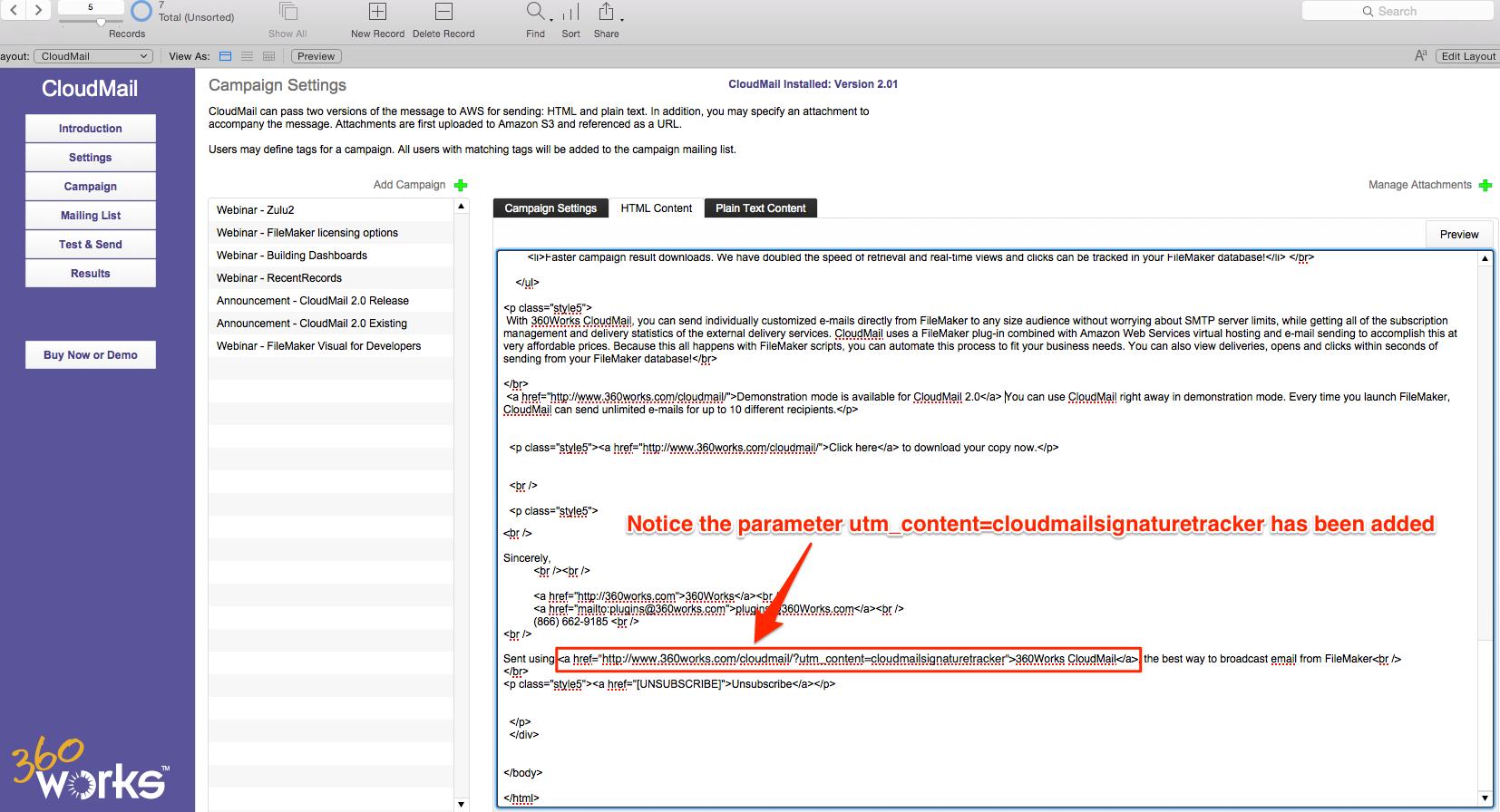 cloudmail add parameters