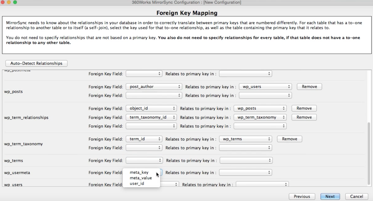 Foreign Key Mapping for WordPress