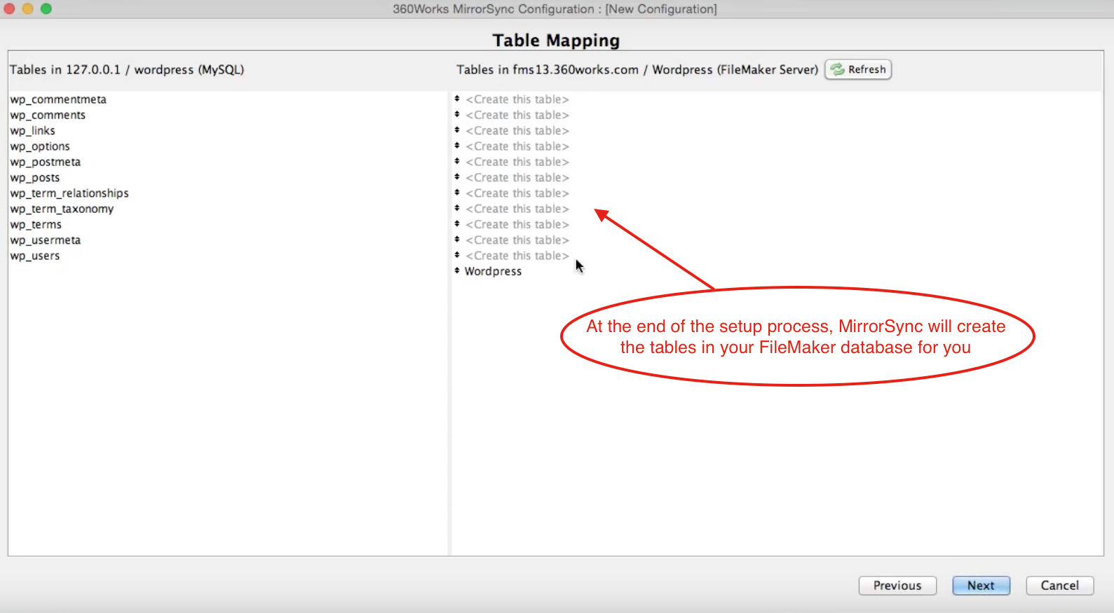 Do not do anything with the FileMaker tables when prompted. MirrorSync will add these for you.