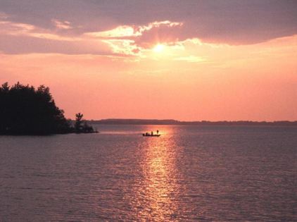 Illinois lake and sunset