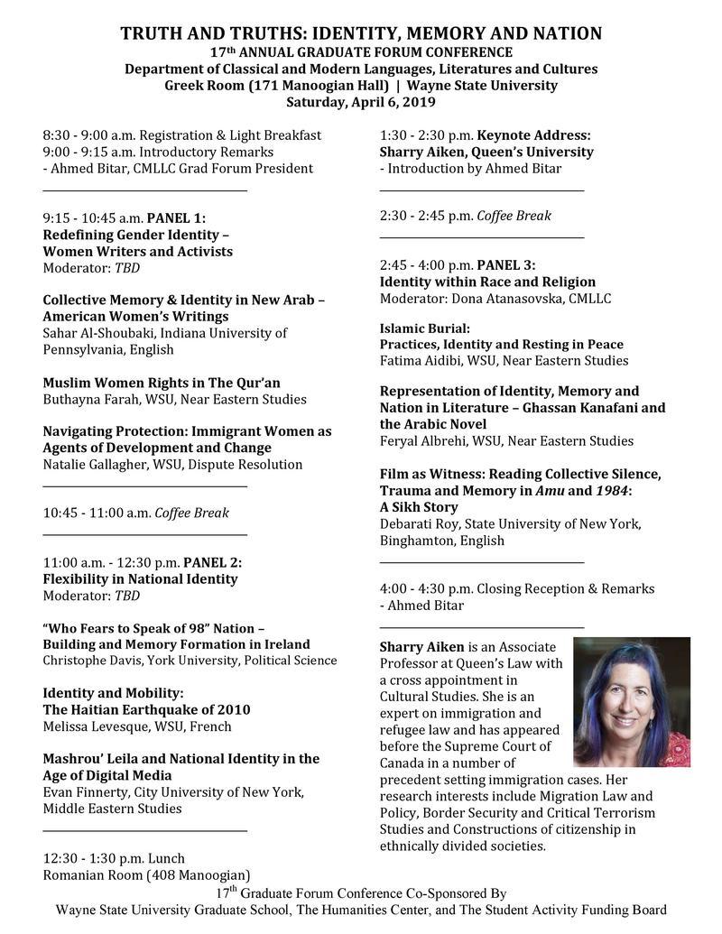Wayne State Calendar.2019 Cmllc Graduate Forum Conference Main Events Calendar Wayne