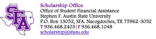 Logo for Stephen F Austin State University Scholarships