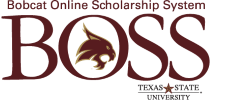 Logo for BOSS TXST Scholarships