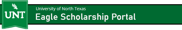 Logo for University of North Texas - Scholarships
