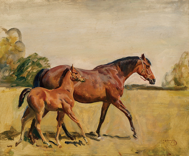 LORD ASTOR'S BROODMARE AND FOAL by Sir Alfred James Munnings