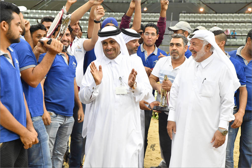 Sheikh Hamad bin Ali Al Thani and the Al Shaqab team after winning both the Gold and Silver in the Colt Championship