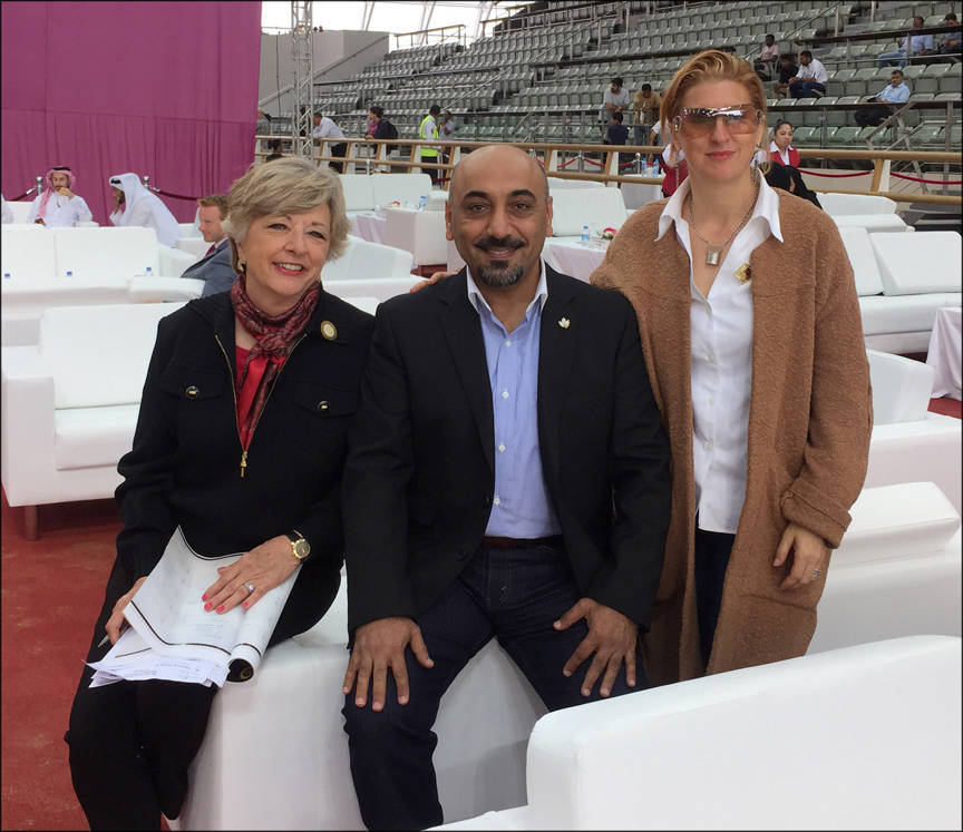 (l-to-r) Anna Bishop, Ali Almimar and Lisa Abraham in Qatar (2016)