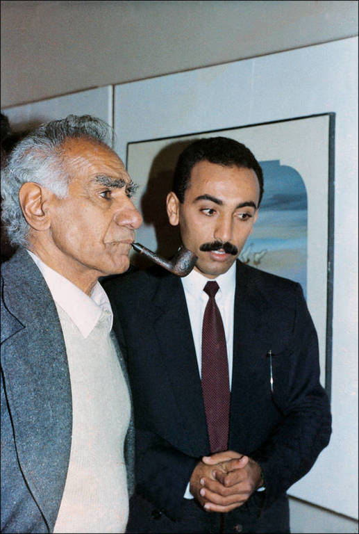 Ali Almimar with his teacher, the famous Iraqi artist Fa'ik Hassan