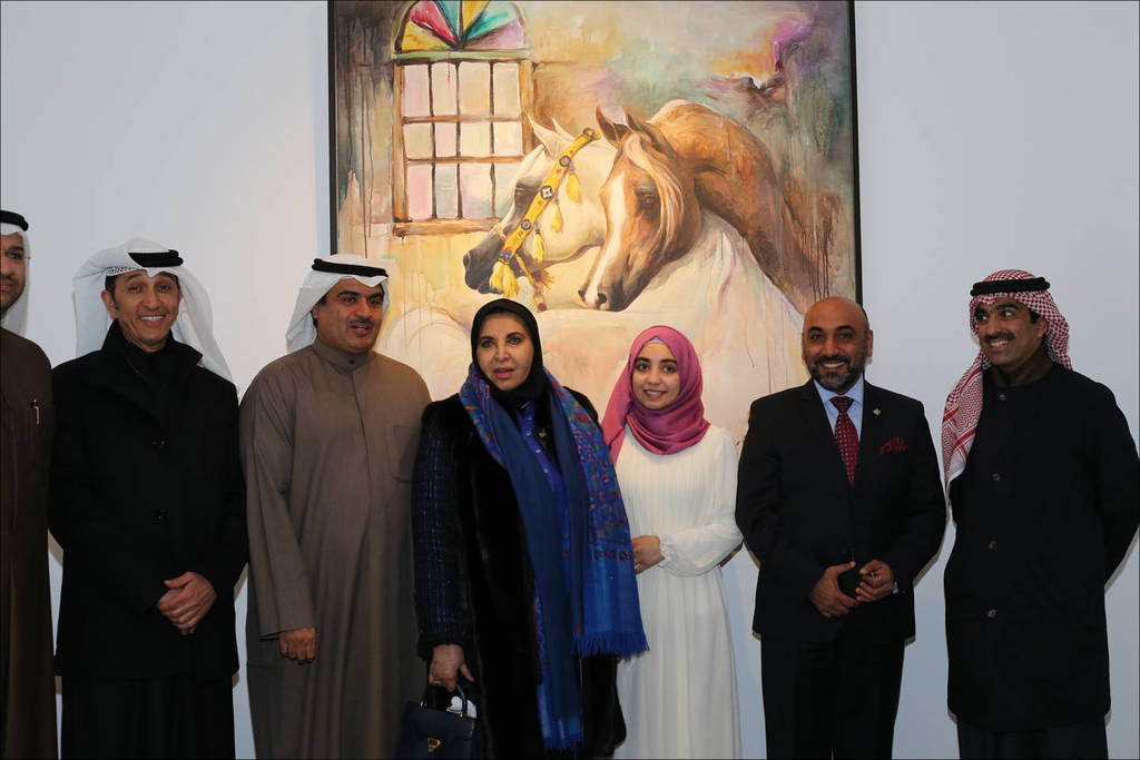 Ali Almimar's 2017 exhibition at Bait Al Arab (KWT)...(l-to-r) Mahmood Al Zubaid (Director of Bait Al Arab), Ala'a Hamad Al Roumi, (Chairman of the Board of Trustees at Bait Al Arab), Sheikha Dr. Souad Al Mubarak Al Sabah (the official sponsor of the Exhibition), Fatima (Ali's Daughter), Ali Almimar and Mr. Mohammed Al Marzouq