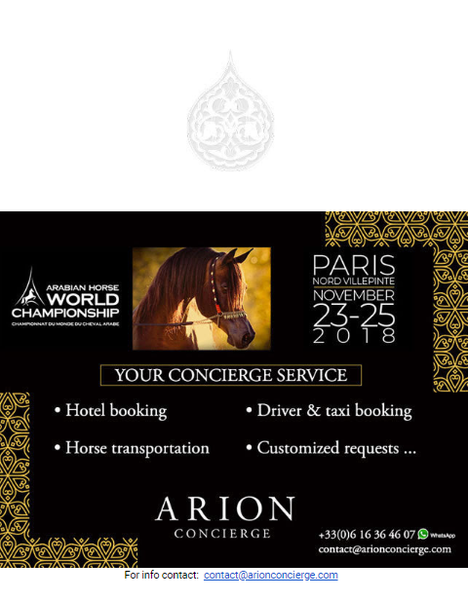 Arabian Horse World Championship - Paris 2018 - YOUR CONCIERGE SERVICE
