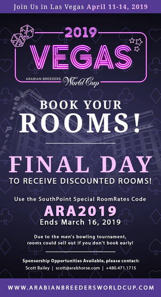 2019 Arabian Breeders World Cup - Book your room, Last day for discounted rates!