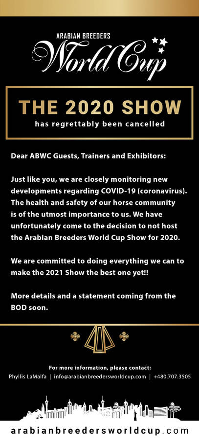 Regrettably - 2020 World Cup Show is CANCELLED