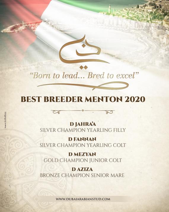 DUBAI ARABIAN STUD - Best Breeder Menton 2020