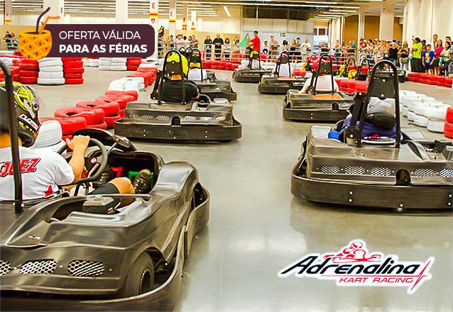 Para você que curte corrida, a oferta perfeita! Corrida de 15 voltas para 1 pessoa por R$34,99 no Adrenalina Kart do North Shopping Joquei