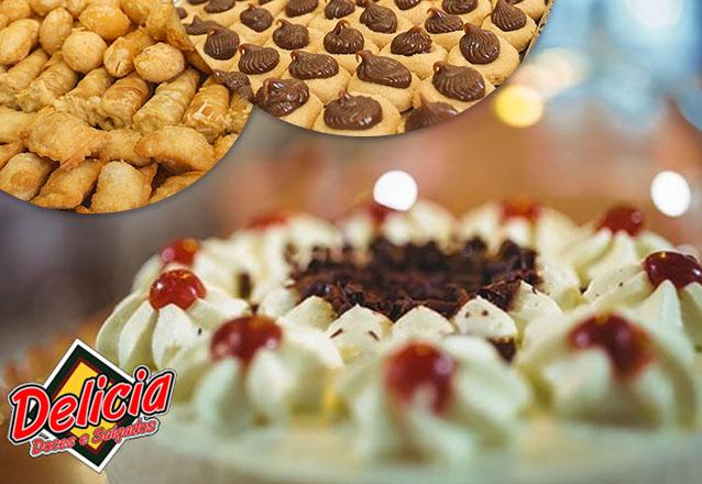 Kit perfeito: Torta Doce para 40 pessoas + 200 Salgados + 1 Torta de Frango (1,5kg) + 100 Torteletes por apenas R$75 da Delícia Doces e Salgados