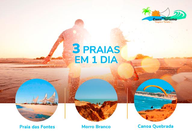 As praias mais bonitas do Ceará no seu dia! Transporte para 1 pessoa para passeio por Morro Branco, Praia das Fontes e Canoa Quebrada por apenas R$42,90