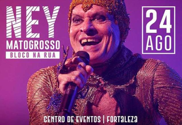 O Barato apresenta: Ney Matogrosso e sua turnê Bloco na Rua no dia 24/08 às 22h! Ingresso Inteira Arquibancada de R$140 por apenas R$95 no Centro de Eventos Fortaleza