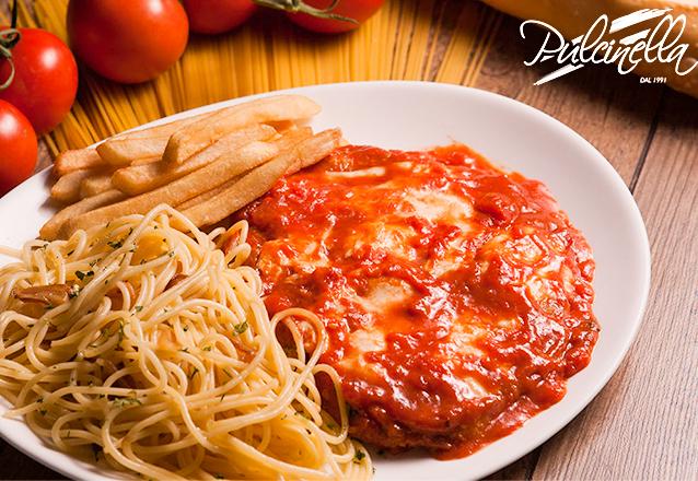 Parmegiana para 2 pessoas com mozzarella de bufala molho de tomate servido com espaguete azeite alho e batatas fritas de R$85,00 por apenas R$64,90