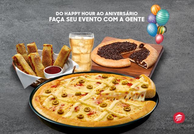 Pacote de festas (5 pizzas pan grandes, 3 porções breadstick (24 unidades), 20 refrigerantes e 2 pizzas grande de chocolate) para 20 pessoas por apenas R$499,90 no Pizza Hut Beira Mar