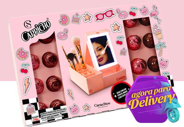O Presente perfeito para a sua Mãe na Cacau Show! 1 Caixa Porta Make Capricho com trufas (216g) de R$89,90 por R$ 69,90