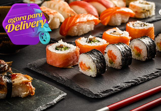 Combinado Sushi 10 peças (Sushis Uramakis, Hossomakis e Hots variados, em múltiplos de 5) por apenas R$15,90
