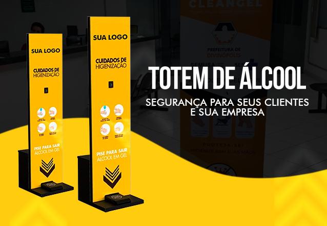 Segurança para seus clientes e sua empresa! Totem para Álcool em gel - Ferro galvanizado medindo e PVC personalizado por apenas R$440 na Gel Step