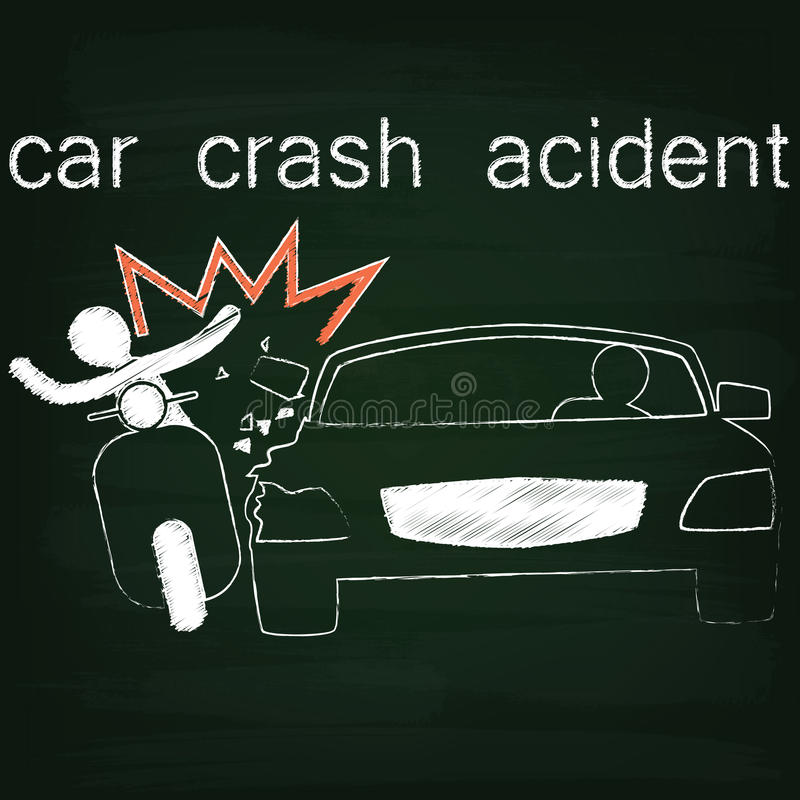 black-car-crash-side-collision-chalk-sign-accident-cars-motorbike ...
