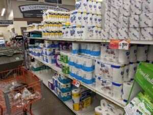 Toilet paper shelves at New Brighton Foodland display that toilet paper is in stock it's just a lack of variety