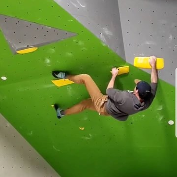 Clayton working on a route with the new holds #indoorclimbing #climbinggym #downtownmorganton