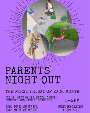 Parents plan your DATE NIGHT this Friday!! Reserve your spot, the kids will have a blast🤩 #parentsnightout #indoorclimbing #datenight #downtonmorganton #morgantonnc #lakejames #fridayvibes