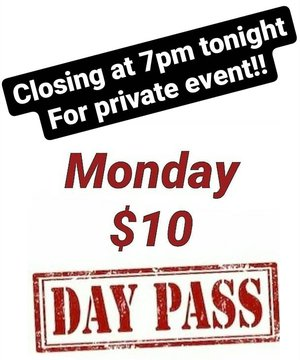 Come early we are closing at 7pm for a private event tonight. $10 day pass all day #indoorclimbing #indoorbouldering #downtownmorganton #downtownhickory #downtownlenoir